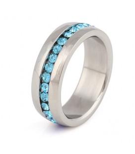 Kék kristályos nemesacél gyűrű