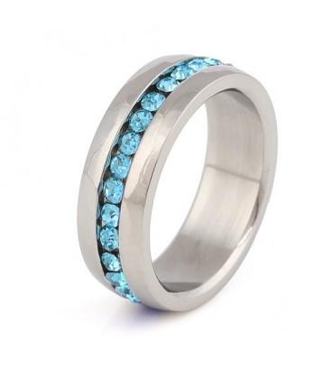ékszer webshop Kék kristályos nemesacél gyűrű