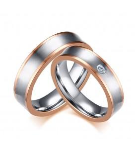 Dupla sávos női nemesacél karikagyűrű - rozé arany