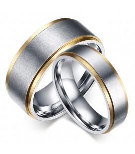 Arany sávos, gravírozható női nemesacél karikagyűrű