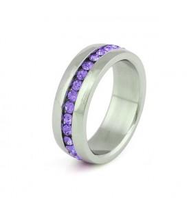 Nemesacél gyűrű lila kristályokkal