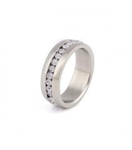 Nemesacél gyűrű - fehér kristályokkal