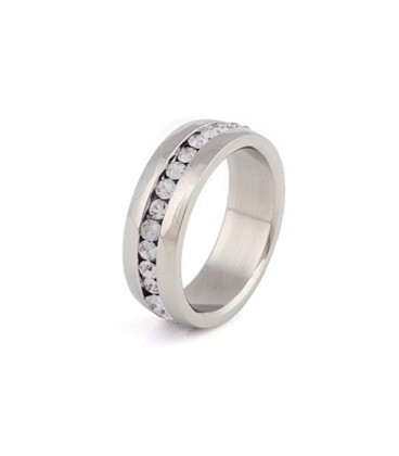 ékszer webshop Nemesacél gyűrű - fehér kristályokkal
