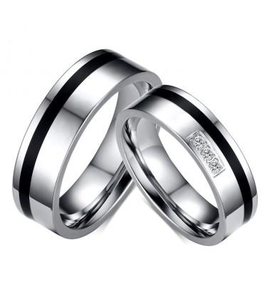 Fekete sávos, kristályos női nemesacél karikagyűrű
