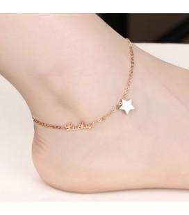 LUCKY nemesacél bokalánc csillag dísszel - rozé arany