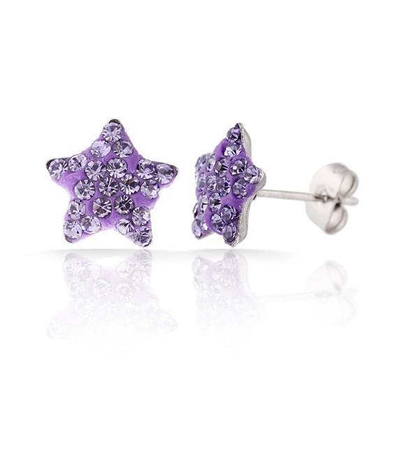 Lila kristályos, csillag alakú nemesacél fülbevaló
