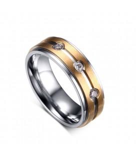 ékszer webshop Rózsaarany sávos női nemesacél gyűrű
