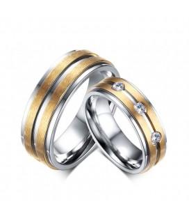 Arany sávos férfi nemesacél karikagyűrű