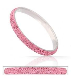 ékszer webshop Rózsaszín kristályos nemesacél karperec