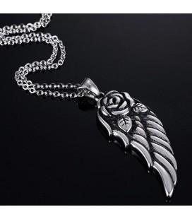 Nemesacél angyalszárny nyaklánc rózsa motívummal