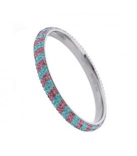 Kék-rózsaszín csíkos, kristályos nemesacél karperec