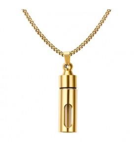 Nyitható nemesacél fiola medál nyaklánccal - arany