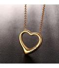 Nemesacél szív nyaklánc love felirattal - arany