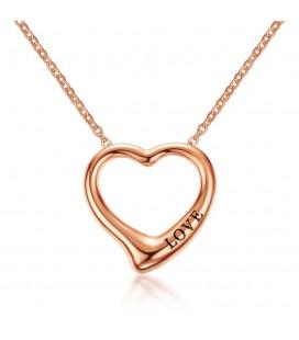 Nemesacél szív nyaklánc love felirattal - rozé arany