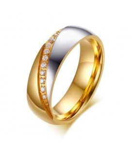 ékszer webshop Cirkónia sávos, női karikagyűrű arany bevonattal