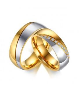 Dupla sávos, aranyozott férfi karikagyűrű