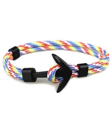 Anchor karkötő fekete horgonnyal - rainbow
