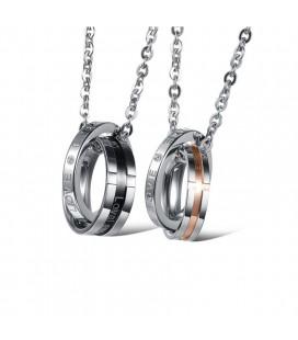 Páros Nyaklánc Szerelmeseknek - Karikagyűrű medállal