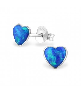 Kék opál köves, ezüst szív fülbevaló