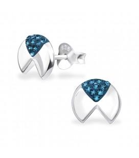 Geometrikus ezüst fülbevaló Swarovski kristályokkal