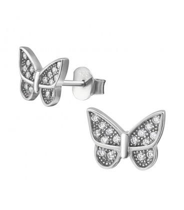 Pillangó ezüst fülbevaló Swarovski kristályokkal
