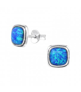 Kék opál köves, ezüst négyzet fülbevaló