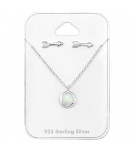 Opál köves ezüst nyaklánc + nyíl fülbevaló szett