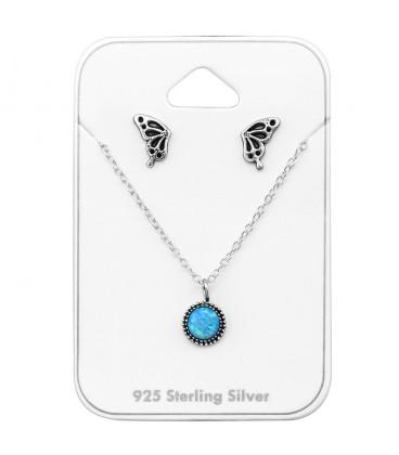 Opál köves ezüst nyaklánc + pillangó fülbevaló szett