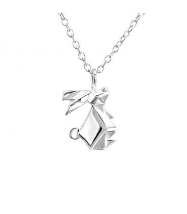 Ezüst origami nyuszi medál nyaklánccal