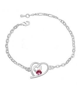 ékszer webshop Rózsaszín kristályos szívecske karkötő
