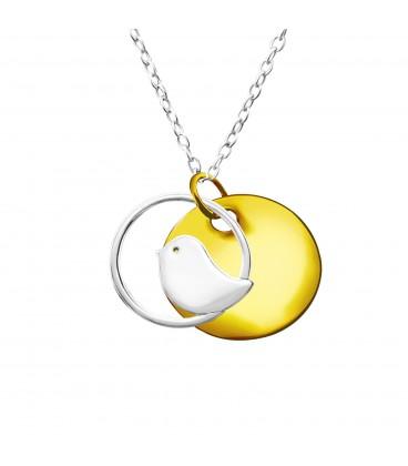 Ezüst kismadár medál nyaklánccal, arany bevonattal