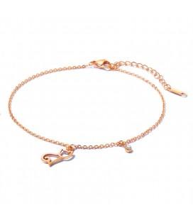 Nemesacél bokalánc cica charmmal - rozé arany