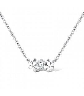 Kristályvirág nemesacél nyaklánc - ezüst