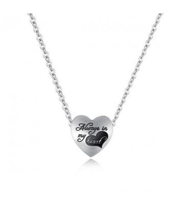 Titánium szív medálos nyaklánc - always in my heart