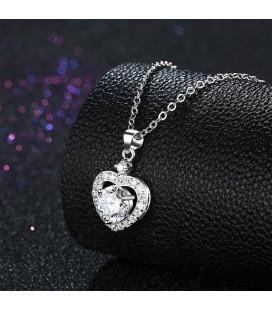 Kristályszív ezüst nyaklánc