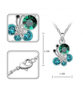 ékszer webshop Türkiz kristályos pillangós nyaklánc