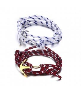 Páros nemesacél Anchor karkötő - kék-fehér-piros