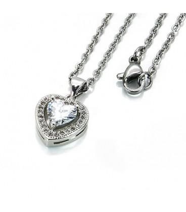 Nemesacél szív nyaklánc Swarovski és CZ kristályokkal - fehér