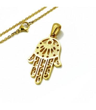 Védelmező, nemesacél Hamsa amulett nyaklánccal - aranyozott