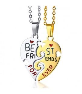 Törhető, szív alakú barátság medál nyaklánccal - best friends