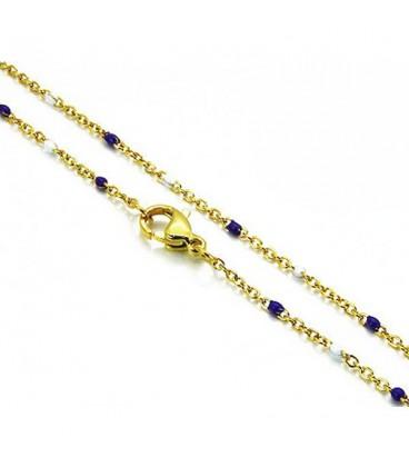 Aranyozott, vékony nemesacél nyaklánc gyöngyökkel (45x2mm)