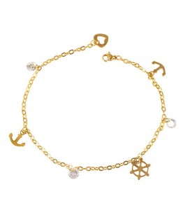 Anchor Nemesacél bokalánc kristályokkal - arany