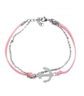 Anchor nemesacél-zsinór karkötő - pink