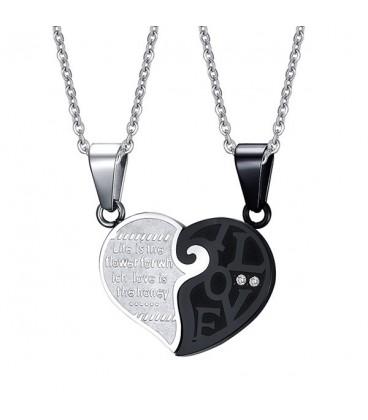 Összeilleszthető - törhető közös szív medál - fekete-ezüst színben
