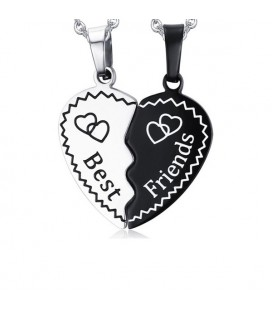 Szív alakú, összeillő barátság medál nyaklánccal - best friends
