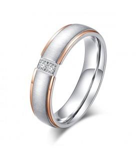 Rozé arany sávos, női titán karikagyűrű