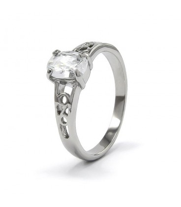 ékszer webshop Fehér cirkónia kővel díszített elegáns nemesacél