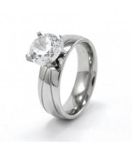 Nemesacél gyűrű, csillogó fehér cirkónia kővel díszítve