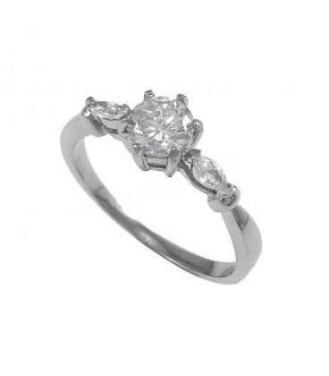 ékszer webshop Fehér cirkónia kövekkel díszített nemesacél gyűrű