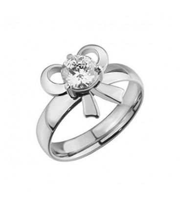 ékszer webshop Fehér cirkónia köves, masni alakú nemesacél gyűrű